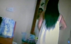 indian girl caught hidden webcam wearing her green strip panty n big boobs