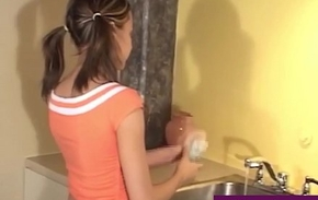 Hot Young Tiny Teen Andi Pink Gets Nude In The Kitchen Sink!